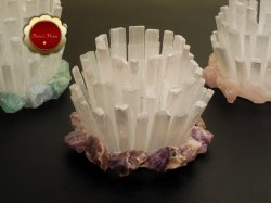 5 Large Selenite and Amethyst Candle Holder Dogtooth Amethyst Centerpiece