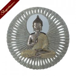 Unique Zen Buddha Circular Polyresin Wall Ornament Decor