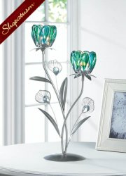 Double Peacock Bloom Candle Holder Turquoise & Silver Wedding Centerpiece