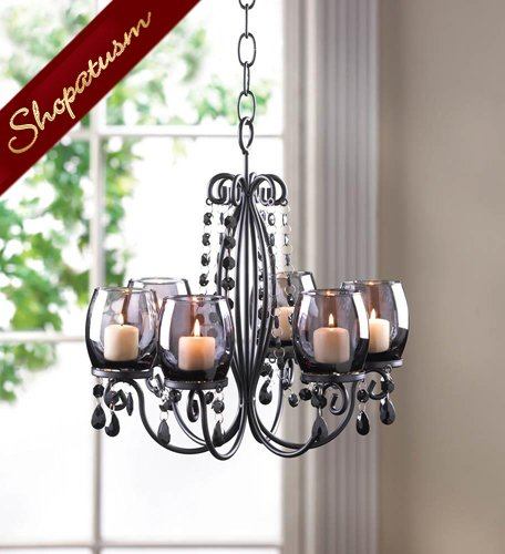 Image 1 of Black Midnight Elegance Candle Holder Crystal Bead Hanging Chandelier