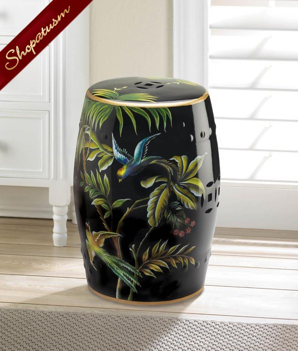 Tropical Birds Decorative Stool Black Glazed Ceramic Side Table
