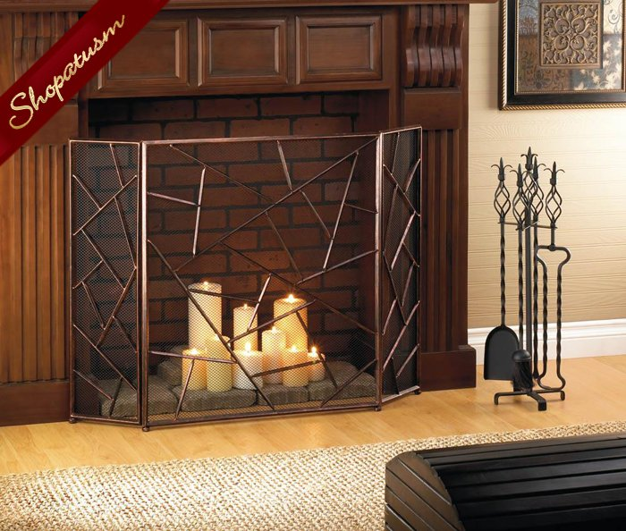 Bronze Geometric Modern Fireplace Mesh Screen