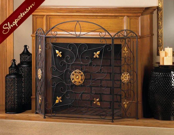 Black & Gold Splendor Fireplace Screen Embellished Gold Ornaments