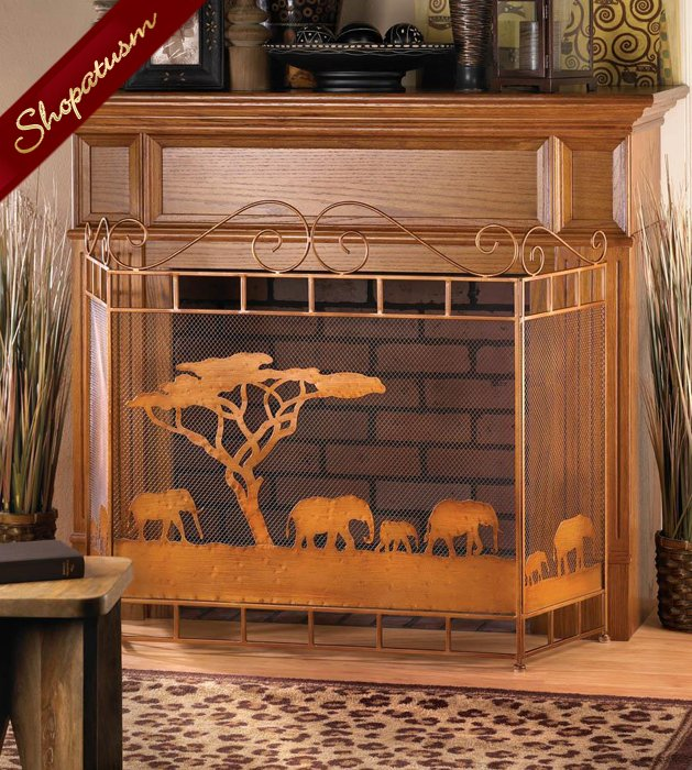 Bronze Wild Savannah Decorative Fireplace Screen