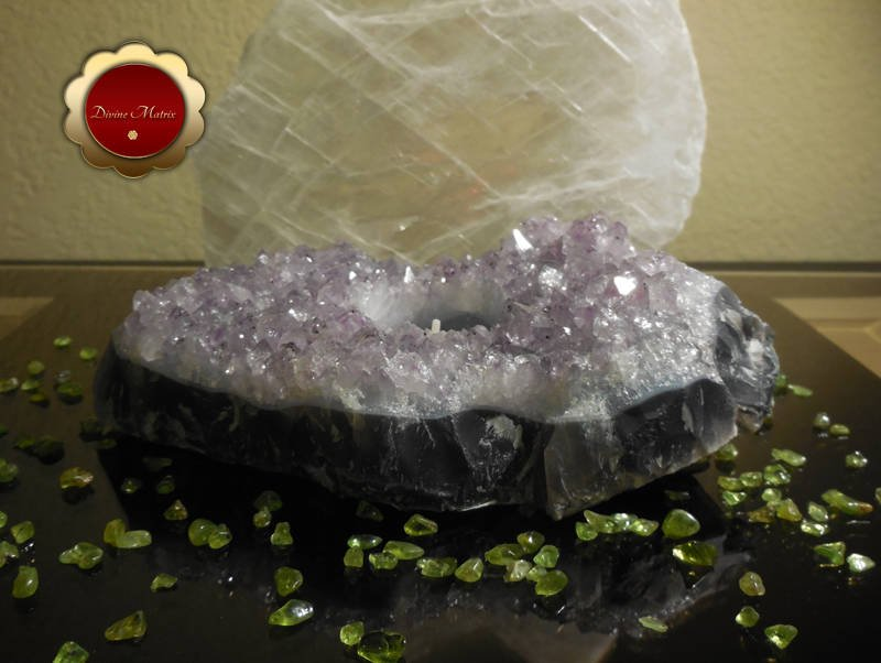Image 1 of Raw Amethyst Cluster Tealight Candle Holder Great For Altar Protection Crystal