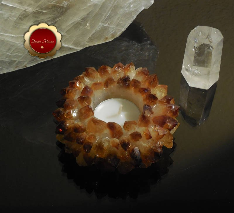 Citrine Lotus Tealight Cluster Candle Holder