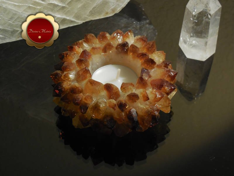 Image 1 of Citrine Lotus Tealight Cluster Candle Holder