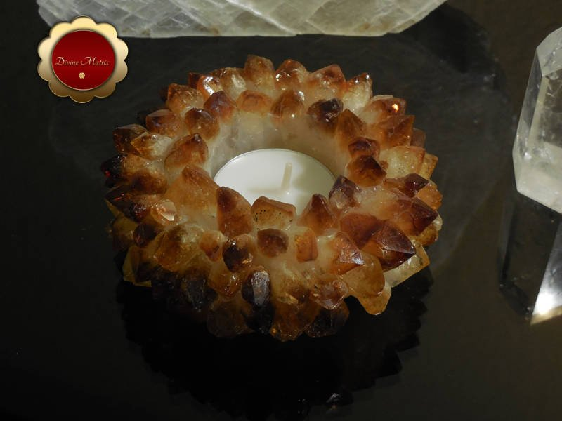 Image 3 of Citrine Lotus Tealight Cluster Candle Holder