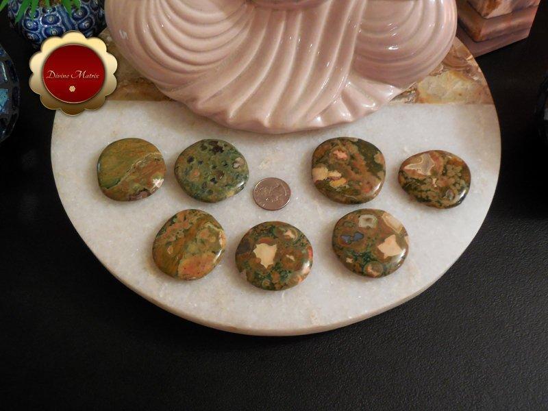 Image 1 of Large Rhyolite Palm Stones Rainforest Jasper Stone Energy Healing Heart Chakra