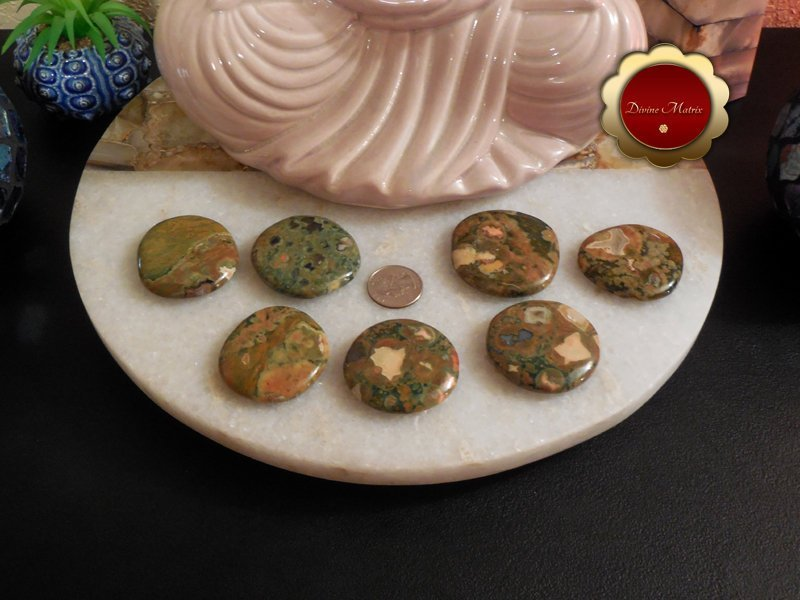 Image 3 of Large Rhyolite Palm Stones Rainforest Jasper Stone Energy Healing Heart Chakra