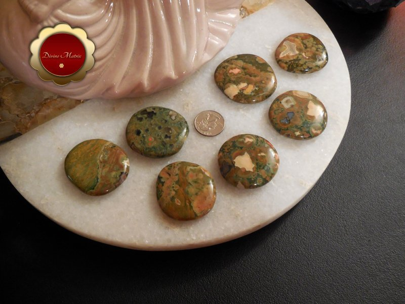 Image 4 of Large Rhyolite Palm Stones Rainforest Jasper Stone Energy Healing Heart Chakra
