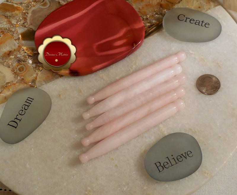 Rose Quartz Wand Pressure Point Massage Wands Energy Healing Tool Reiki Healing