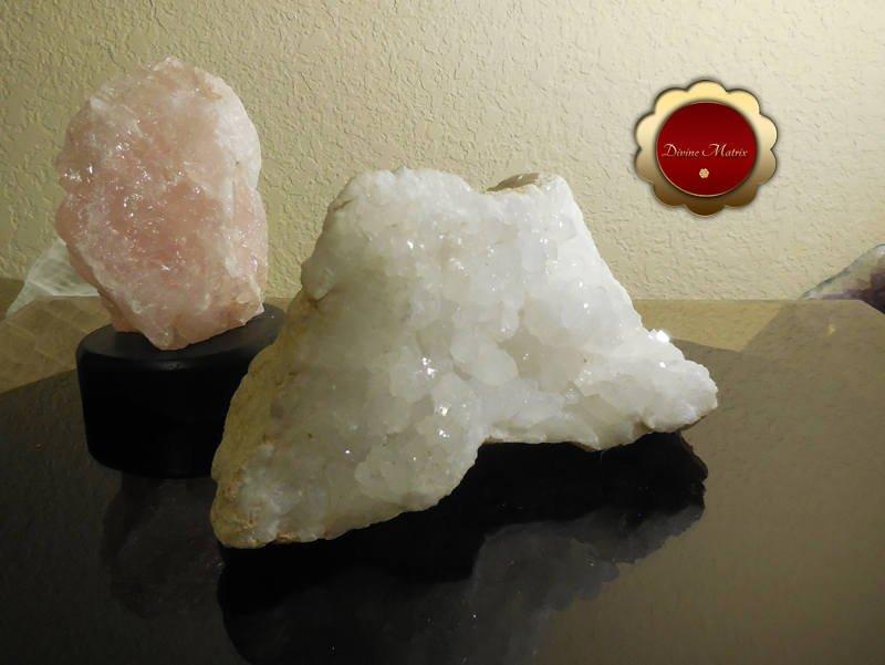 Image 1 of Large Raw Clear Quartz Cluster Druzy Geode Snow White Master Healer