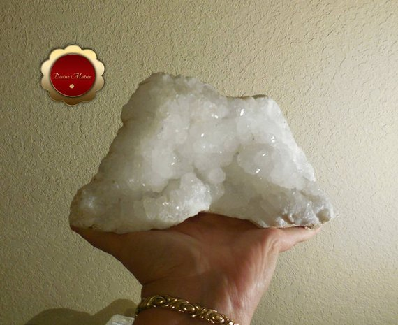 Image 5 of Large Raw Clear Quartz Cluster Druzy Geode Snow White Master Healer