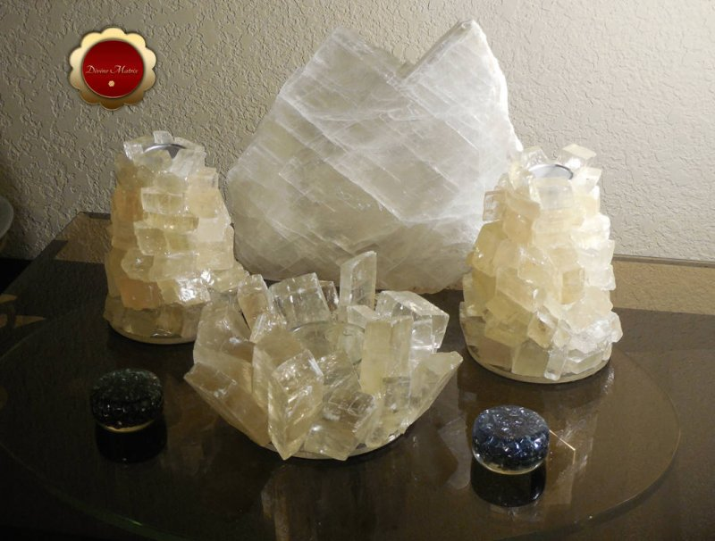 Image 2 of 3 Piece Optical Calcite Candle Holder Set Tealight Taper Holders Iceland Spar