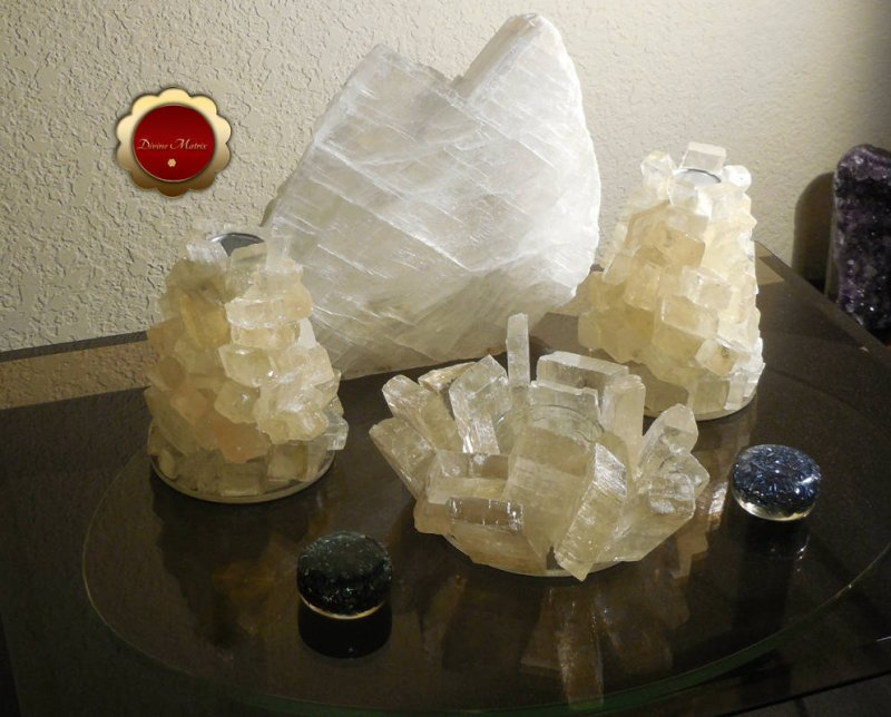Image 3 of 3 Piece Optical Calcite Candle Holder Set Tealight Taper Holders Iceland Spar