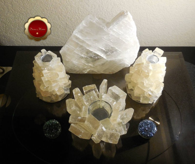 Image 4 of 3 Piece Optical Calcite Candle Holder Set Tealight Taper Holders Iceland Spar