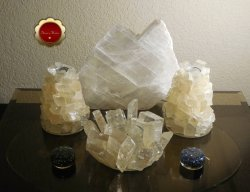 3 Piece Optical Calcite Candle Holder Set Tealight Taper Holders Iceland Spar