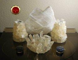 3 Piece Optical Calcite Candle Holder Set Tealight Taper Holders Iceland Spar