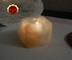 Carved Onyx Tealight Candle Holder Geometric Shape Crystal Healing 3 1/2 Inch