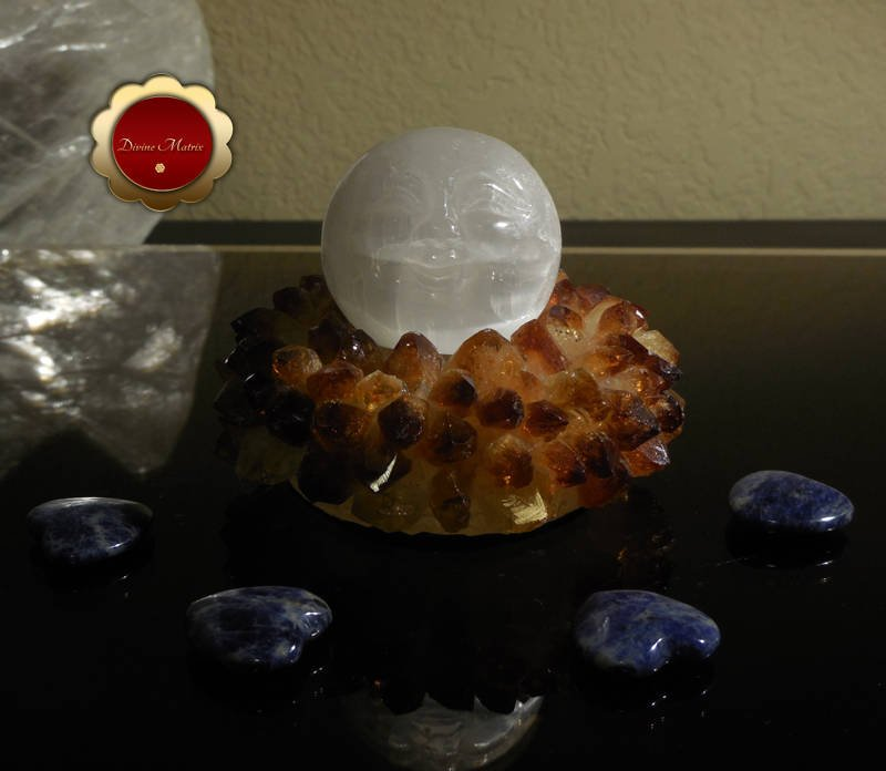 50mm Carved Selenite Moonface Sphere Removes Energy Blocks