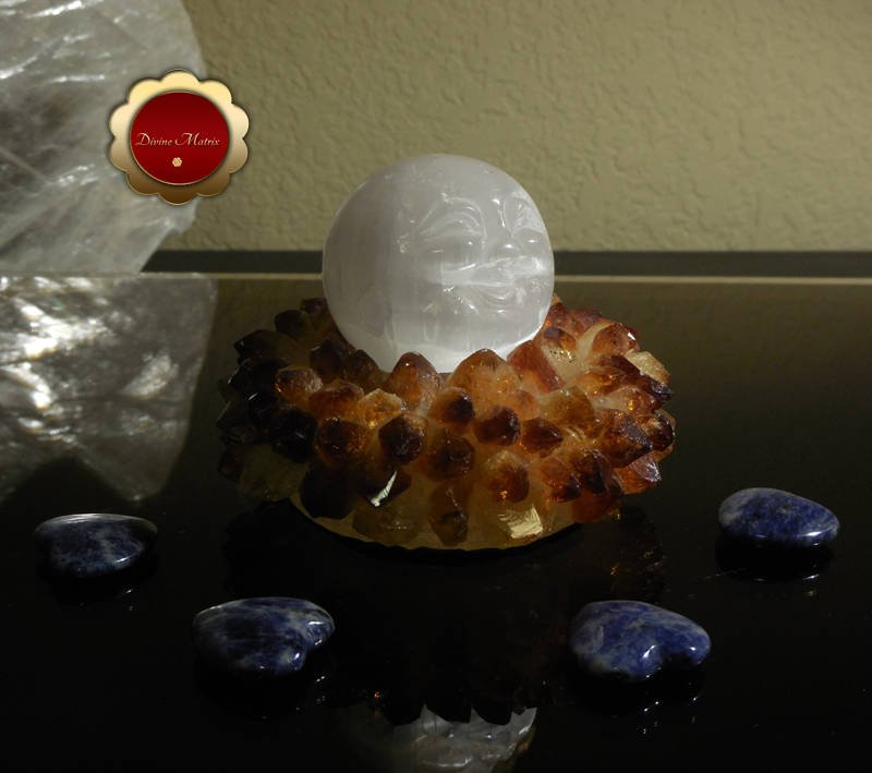Image 1 of 50mm Carved Selenite Moonface Sphere Removes Energy Blocks