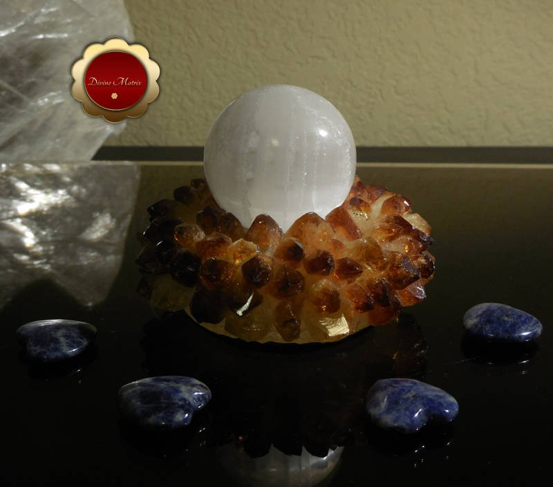 Image 3 of 50mm Carved Selenite Moonface Sphere Removes Energy Blocks