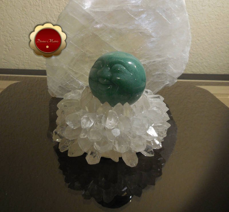 Image 2 of 50mm Carved Green Aventurine Moonface Sphere Heart Chakra Energy Healing