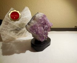 Amethyst Cluster with Wood Stand Protection Crystal Energy Healing