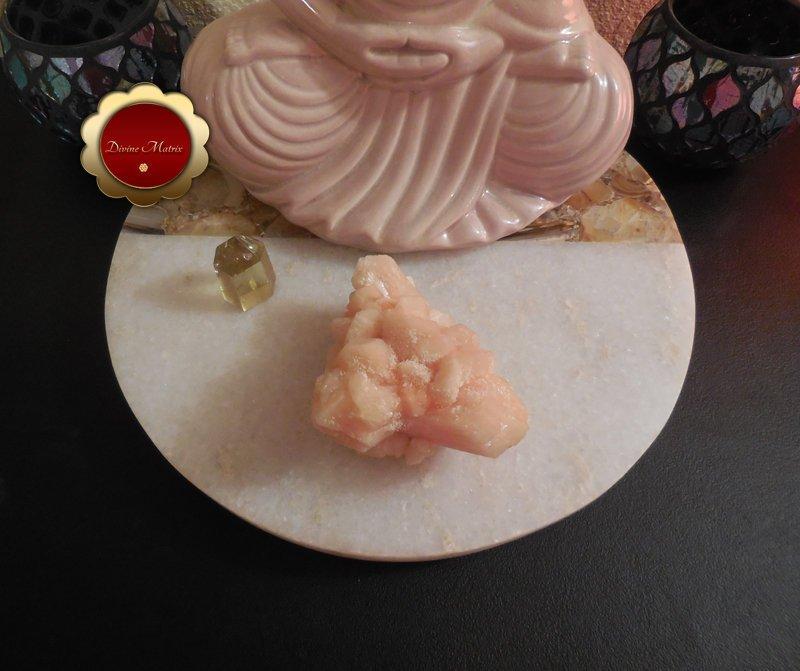 Image 2 of Peach Stilbite Crystal Cluster Psychic Awareness Heart Chakra Stone