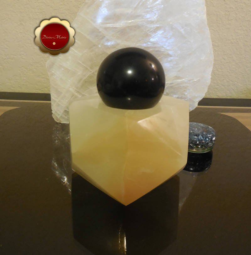 Image 3 of 50mm Black Obsidian Sphere Carved Moon Face Psychic Protection Stone
