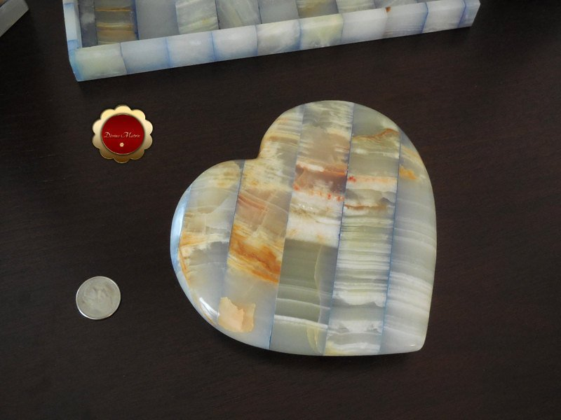 Large Blue Carved Onyx Patchwork Heart