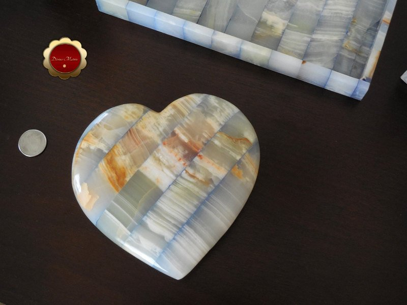 Image 2 of Large Blue Carved Onyx Patchwork Heart