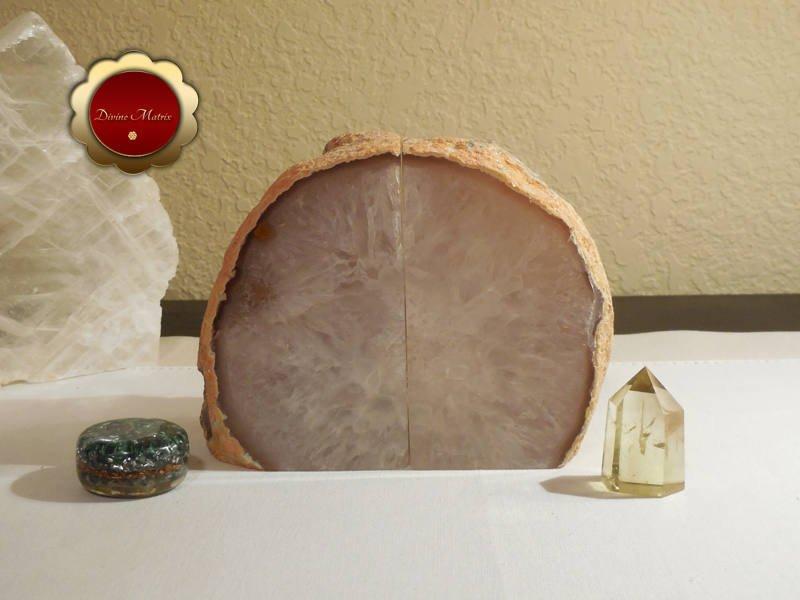 Carved Brazilian Quartz Agate Geode Bookends