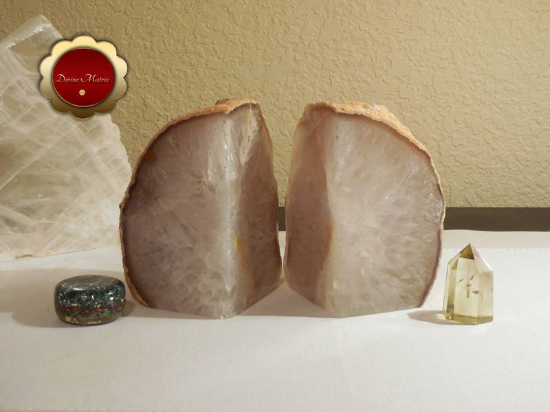 Image 2 of Carved Quartz Agate Geode Bookends Brazil