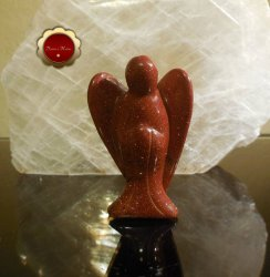 Large Carved 3 Red Goldstone Angel Free Standing Reiki Healing
