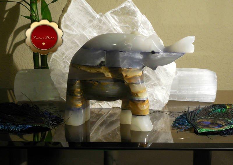 Large Spirit Animal Blue Patchwork Carved Onyx Elephant Totem
