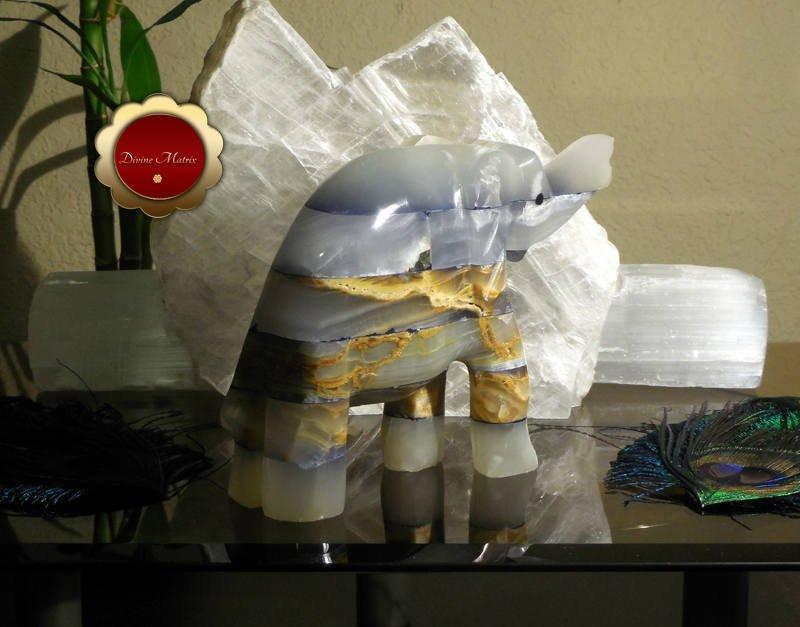Image 2 of Large Spirit Animal Blue Patchwork Carved Onyx Elephant Totem