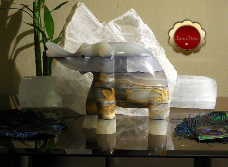 Image 3 of Large Spirit Animal Blue Patchwork Carved Onyx Elephant Totem