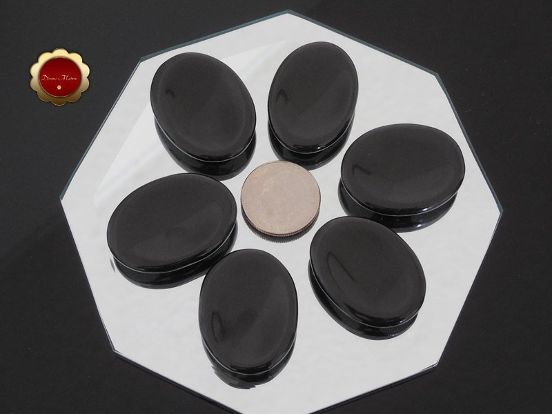 Image 2 of Small Polished Black Onyx Worry Stone Root Chakra Protective & Grounding