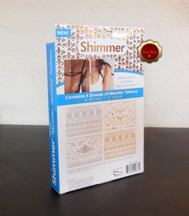 Image 1 of Shimmer Metallic 70 Temporary Tattoo Jewelry for Women Teen Girls Gold & Silver
