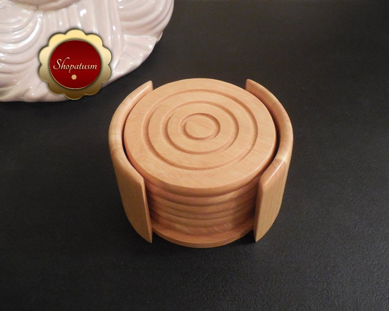 Image 1 of Kamenstein Hardwood 7 Piece Wood Coaster Set