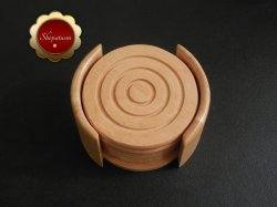 Kamenstein Hardwood 7 Piece Wood Coaster Set