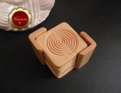 Lipper 9 Pc Beechwood Coaster Set