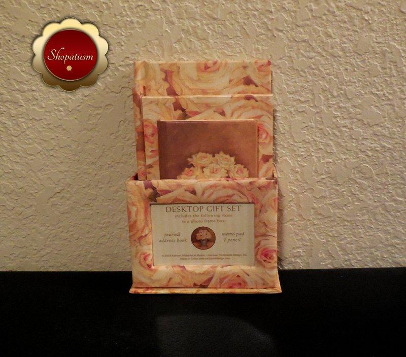 Floral Desktop Gift Set Journal Address Book Memo Pad Pencil Photo Frame Box