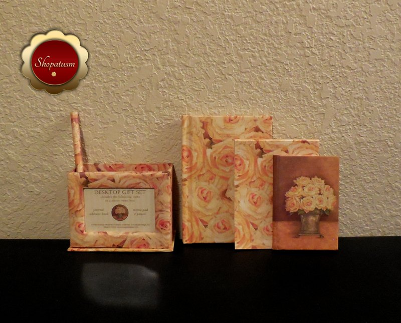Image 2 of Floral Desktop Gift Set Journal Address Book Memo Pad Pencil Photo Frame Box