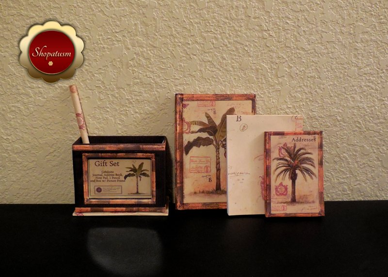 Image 2 of Tropical Desktop Gift Set Journal Address Book Memo Pad Pencil Photo Frame Box