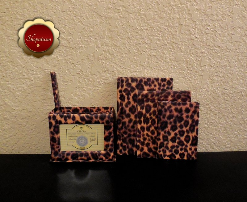 Image 2 of Animal Print Desktop Gift Set Journal Address Book Memo Pad Pencil Photo Frame