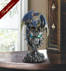 Metallic Blue And Gold Dragon Warrior Statue LED Light