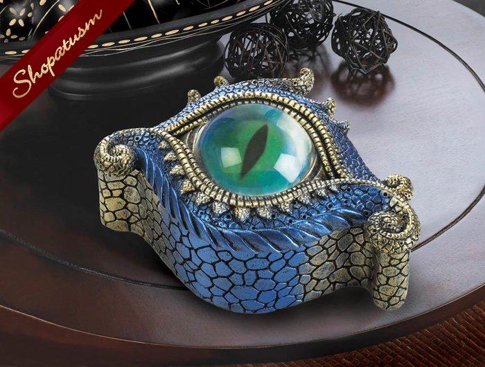 Blue And Gold Dragons Eye Trinket Jewelry Box